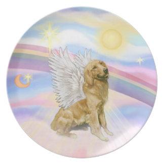 Golden Retriever Angel in Clouds (B1) Melamine Plate