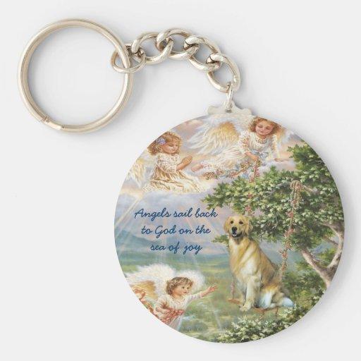 Golden Retriever Angel Keychain