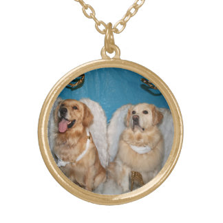 Golden Retriever Angels Gold Plated Necklace