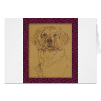 Golden Retriever art drawn from only the words Card