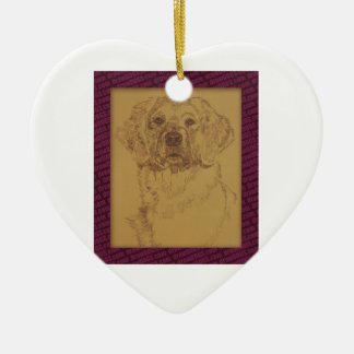 Golden Retriever art drawn from only the words Christmas Ornament