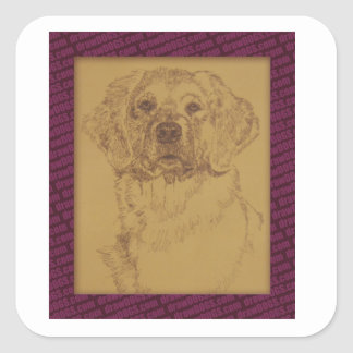 Golden Retriever art drawn from only the words Square Sticker