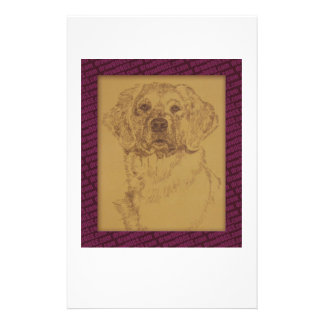 Golden Retriever art drawn from only the words Stationery