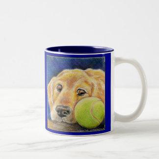 Golden Retriever art Two-Tone Coffee Mug