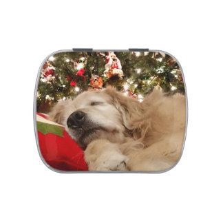 Golden Retriever Asleep Under the Christmas Tree Jelly Belly Tins