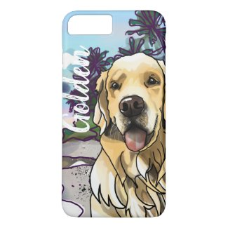 Golden Retriever at Beach (Add Your Pet's Name)