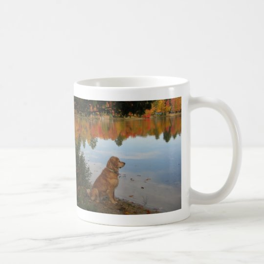Golden Retriever Autumn at the Lake Coffee Mug