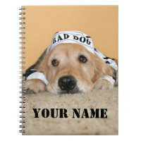 Golden Retriever Bad Dog Prisoner Notebook