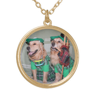 Golden Retriever Bagpipers Gold Plated Necklace