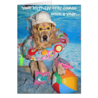 Golden Retriever Beach Bather Birthday Splash Card