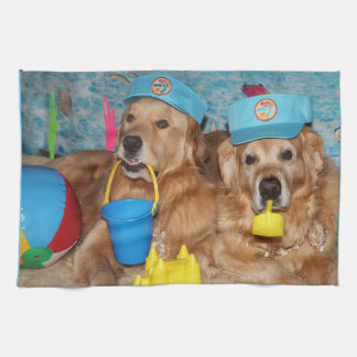Golden Retriever Beach Bums Hand Towel