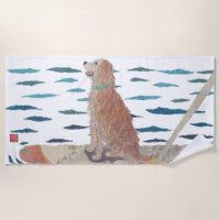 Golden Retriever, Beach Dog, Modern Beach Towel