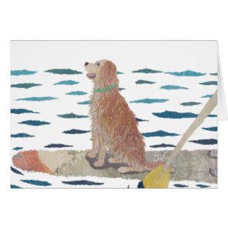 Golden Retriever, Beach Dog, Paddle Board Card