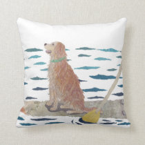 Golden Retriever, Beach Dog, Paddle Board Throw Pillow