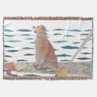 Golden Retriever, Beach Dog Throw Blanket