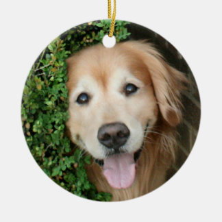 Golden Retriever Behind A Smile Double-Sided Ceramic Round Christmas Ornament