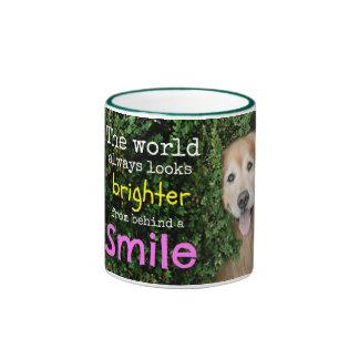 Golden Retriever Behind A Smile Ringer Mug