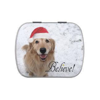 Golden Retriever Believe Christmas Candy Tins