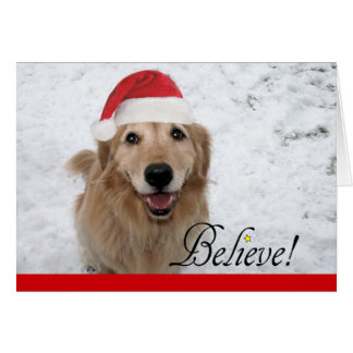 Golden Retriever Believe Christmas Greeting Card