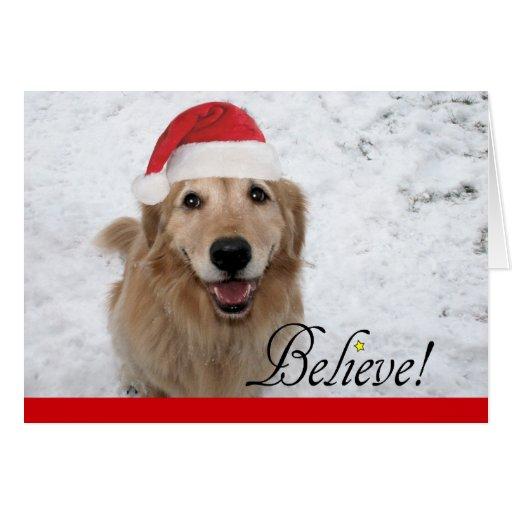 Golden Retriever Believe Christmas Greeting Card