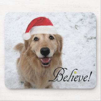 Golden Retriever Believe Christmas Mouse Pad