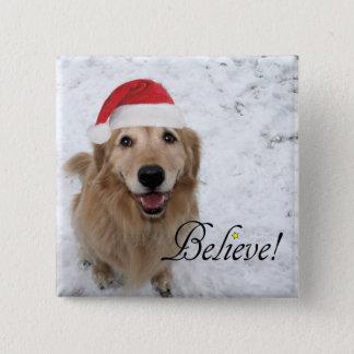 Golden Retriever Believe Christmas Pinback Button