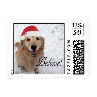 Golden Retriever Believe Christmas Postage