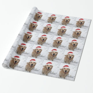 Golden Retriever Believe Christmas Gift Wrap Paper