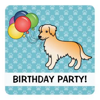 Golden Retriever Birthday Balloons Dog Card