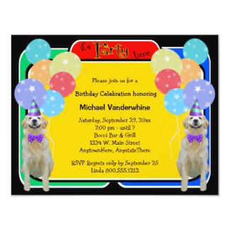 Golden Retriever Birthday Barker Personalized Invites