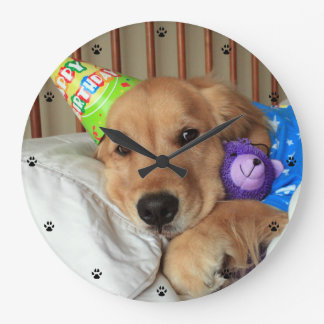 Golden Retriever Birthday Large Clock