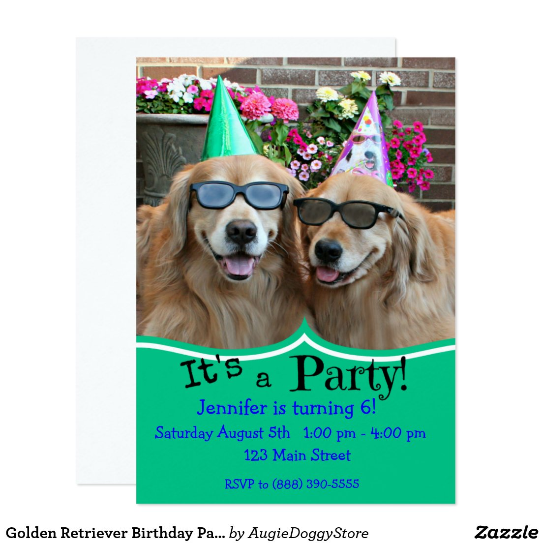 Golden Retriever Birthday Party Card