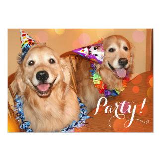 Golden Retriever Birthday Party Card