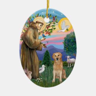 Golden Retriever Blessed by Saint Francis Ceramic Ornament