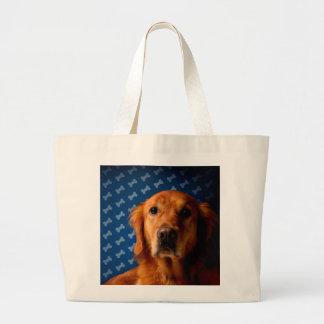 Golden Retriever blue bone background Large Tote Bag