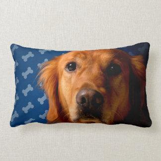 Golden Retriever blue bone background Lumbar Pillow
