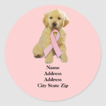 Golden Retriever Breast Cancer Address Label