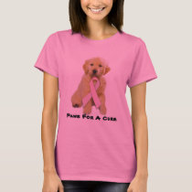 Golden Retriever Breast Cancer Ladies T-Shirt