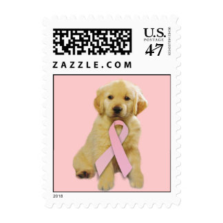 Golden Retriever Breast Cancer Postage Stamp