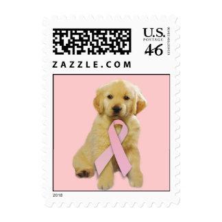 Golden Retriever Breast Cancer Postage Stamp