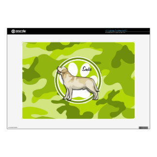 Golden Retriever bright green camo camouflage Laptop Decals