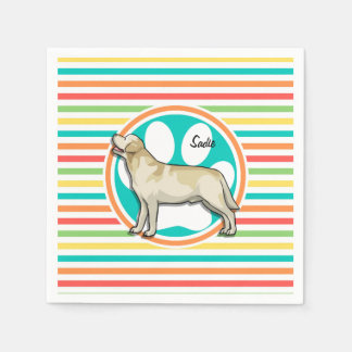 Golden Retriever; Bright Rainbow Stripes Napkin