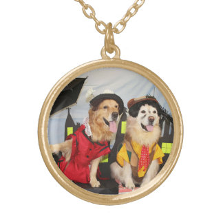 Golden Retriever British Nanny and Chimney Sweep Round Pendant Necklace