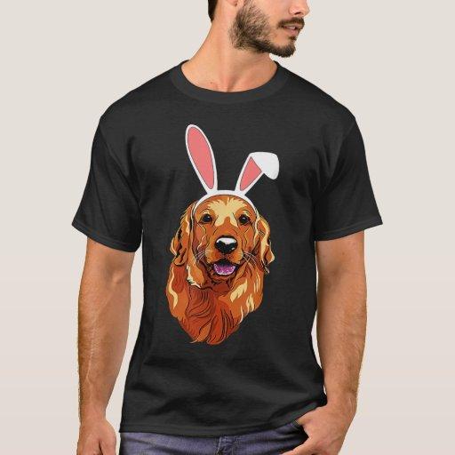 Golden Retriever Bunny Ears Happy EasterEaster T-Shirt
