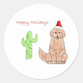 Golden Retriever Cactus Christmas Classic Round Sticker