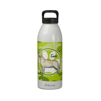 Golden retriever; camo verde claro, camuflaje botellas de beber