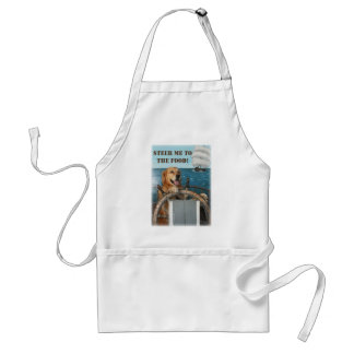 Golden Retriever Captain Steering to the Food Adult Apron