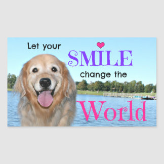 Golden Retriever Change the World Rectangular Sticker