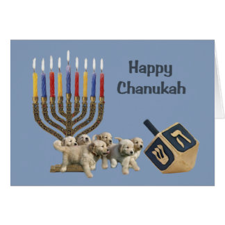 Golden Retriever  Chanukah Card Menorah Dreidel4