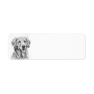 Golden Retriever Charcoal Sketch Return Address Label